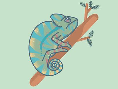 Chameleon green chameleon kids procreate animals illustration