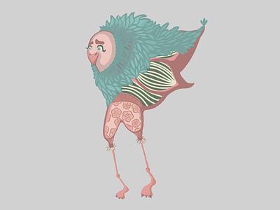 Male bird cartoon fun illustration procreate bird