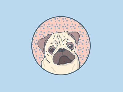 Sweet pug shirt digitalart cute petportrait animals procreate illustration dog pug