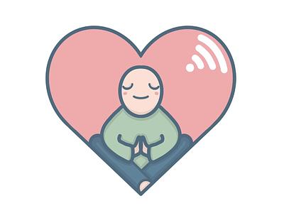 Meditation love procreate illustration heart