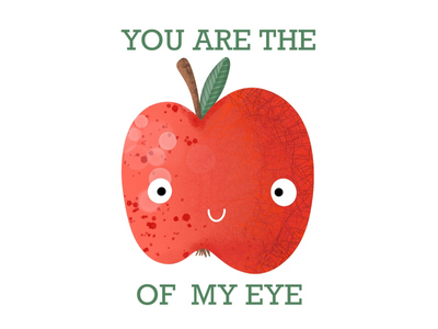 Apple of my eye aiipad fruit tee design illustration kids procreate apple
