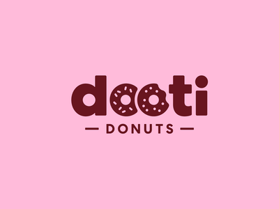 Dooti Donuts pink donuts donut confectionery sweet sweets graphic design design food branding logotype design logo design logotype logo food logo