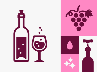 Wine alcohol drop red wine burgundy pink vector illustration wine bottle bottle grape wine icons illustration vector digital digital design mark simple icon design design graphic design