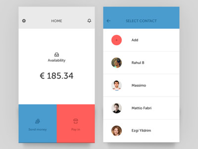 Wallet and Contact Screen