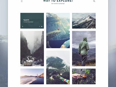 Way To Explore! - Travel Blog rahul gif travel modern minimal blog web mobile ui ux