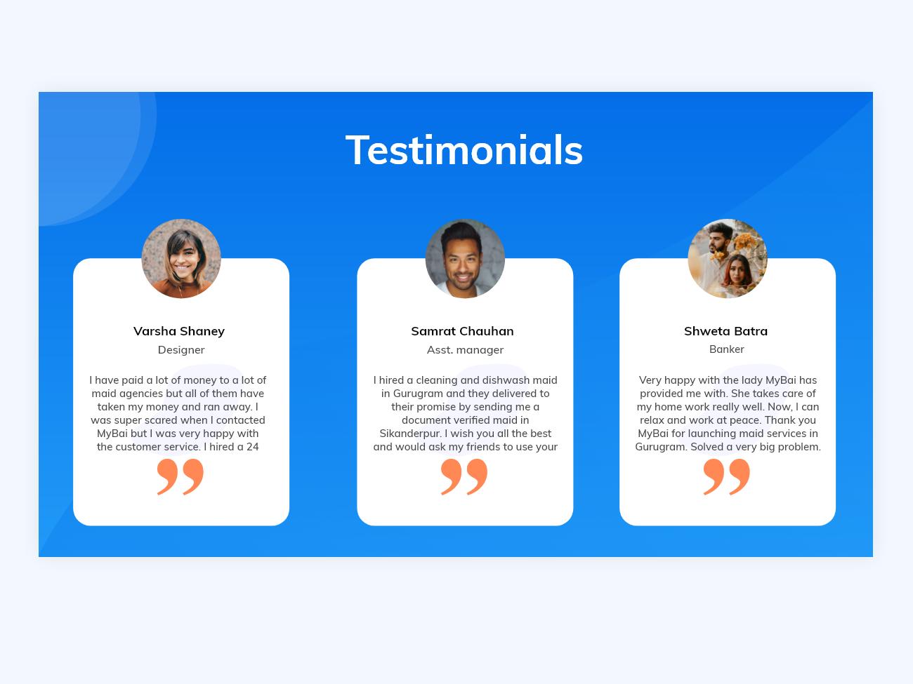 Testimonial section design mybai design illustration uiux uidesign uxdesign user interface maid booking app