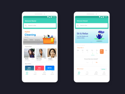 MyBai : App for Maid Booking ( Home Screens )