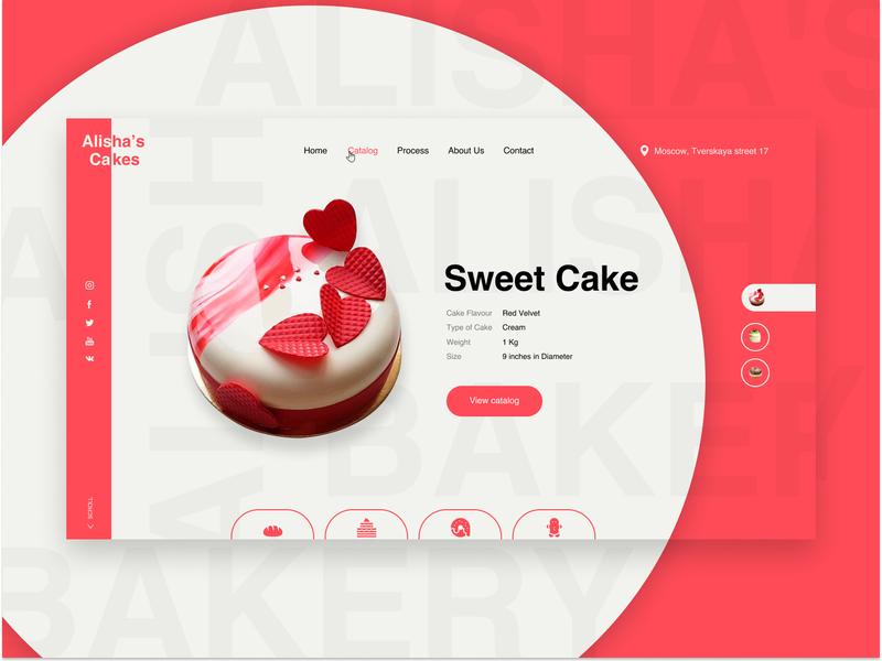 Concept of Cake shop baked bakery cake shop ui interface design figma cakes cake concept