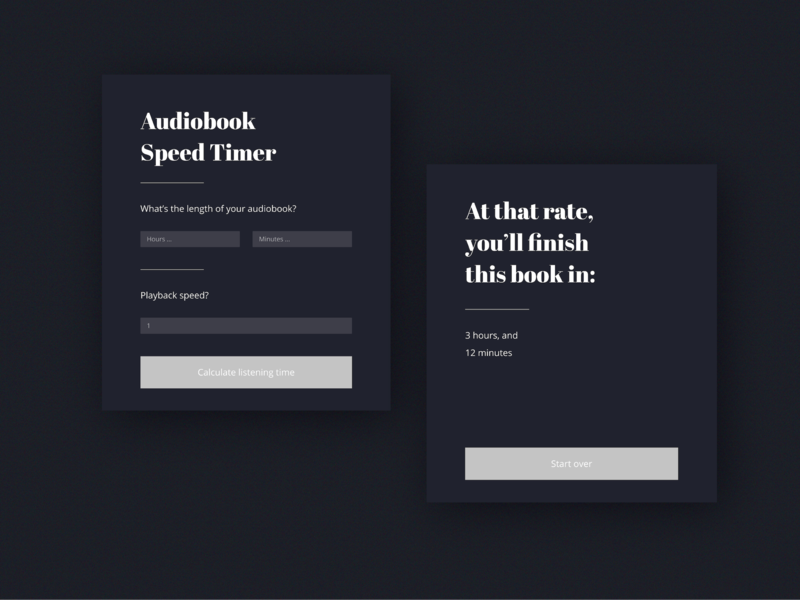 Playback Time Calculator Screen by Jesse Nieman on Dribbble