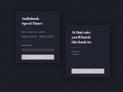 Playback Time Calculator Screen chrome extension minimal vector style shadow clean design app web ux ui