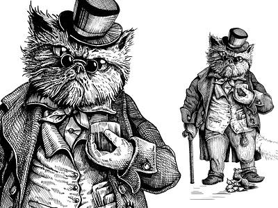 Whisky cat logo design pencil illustraion graphic design graphic