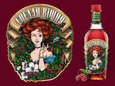 "Design of ""Ripe cherry"" liqueur"" pencil photoshop branding vector design illustration illustrator graphic alcohol product"