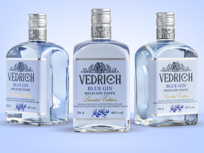 Design VEDRICH Blue Gin typography vector illustrator illustration design belarus productdesign branding design branding alcohol spirits gin