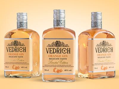 Design VEDRICH Orange Gin typography alcohol vector illustrator illustration design spirits brand identitydesign branding gin
