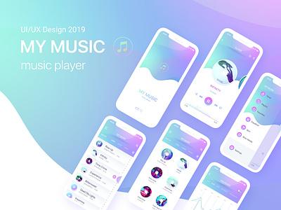 Music Player App Design UI / UX art mobile ios clean illustrator logo icon lettering minimal app ux vector ui design illustration