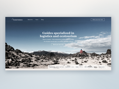 Landing Page for a hiking guide company typography ux ui branding design