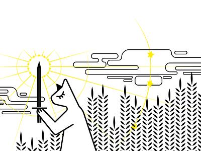 strong yellow art plant vector cat illustration cat illustration