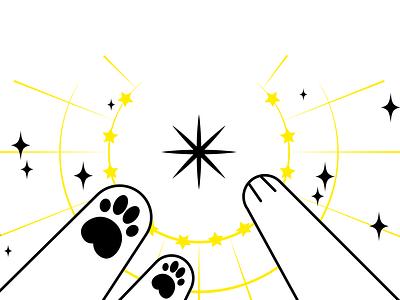 unity sparkles paws yellow art vector illustration cat illustration cat