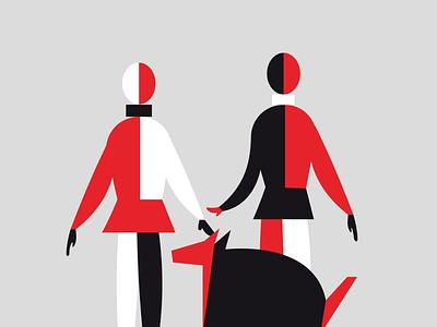 suprematic family art illustration vector dog family love avantgarde suprematism