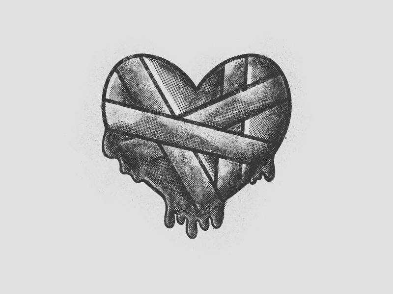 Broken heart illustration grain heartbroken heart illustration