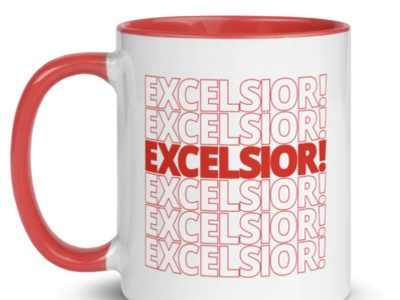 Excelsior! Thank You. typography ecommerce stan lee mug