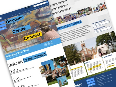 Drake University Homepage web design branding designer drake university university college homepage design branding design website