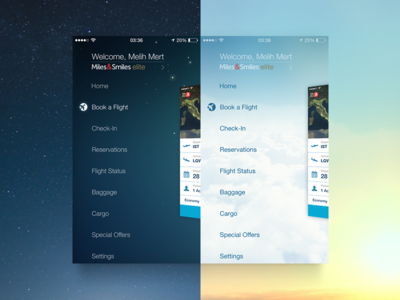 Turkish Airlines Day&Night Side Menu earth space airline flight menu navigation icon night transition ios iphone app