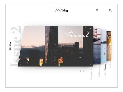 Magazine Flow scroll principle navigation editorial gallery animation photo travel article blog minimal magazine