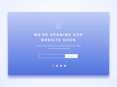 Website lunching landing page. welcome page onepage coming soon landing page