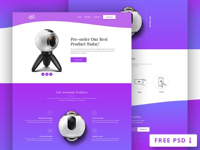 360 Degree Product Landing Page (FREE PSD) free psd e-commerce product landing page onepage
