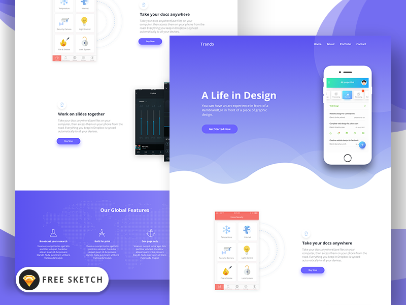 trandx app landing page template free sketch by themefisher