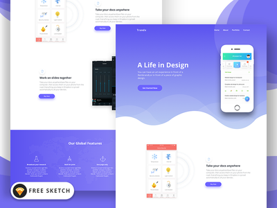 Trandx App Landing Page Template (FREE Sketch) sketch app free onepage app landing-page app-landing-page