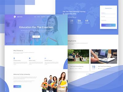 Edu Cafe Shot clean design gradient course selling website education website