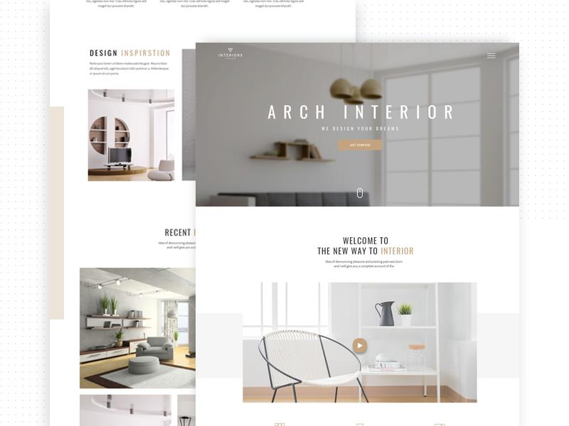 InteriorX Interior Website Design simlpe minimal architect kickstarter interior page clean langing page interior