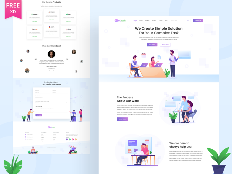 Gotech - Startup Website Template (FREE XD) free-xd xd vector illustration landing page clean web-design minimal-design it-company startup-website landing-page