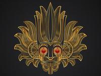 Gold Mask Line Art Illustration