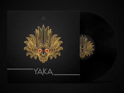 Gold Mask Line Art Album Cover Design