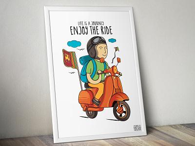 Travel Poster Design & Illustration - Life is a Journey poster art poster design poster tshirt graphics illustrator tshirt design travel vector artwork illustration