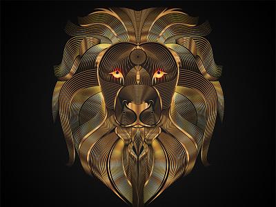 Golden Lion Line Art Illustration designer creative vector illustration vector drawing animal illustration animal art inspiration adobe graphicdesign photoshop behance lion logo lion head illustrator vector artwork illustration
