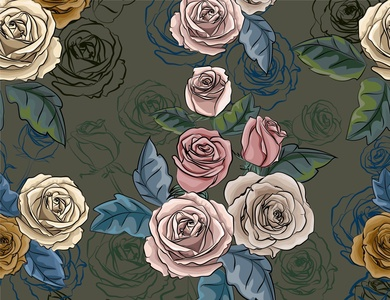 Rose retro floral textile design nature greeting card invitation flower wallpapers vector