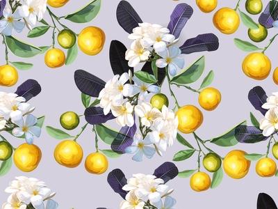 Plumeria  flower and orange fruit in seamless pattern - vector