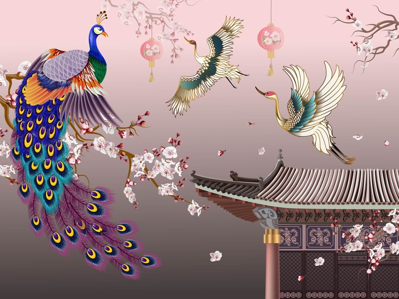 Peacock And Crane poster card happy new year lantern chinese house plum blossom goodluck bird cranes peacock