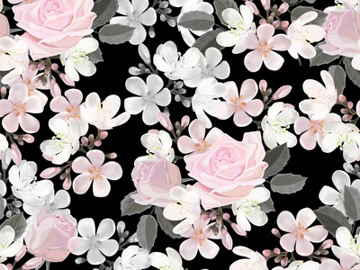 Rose and Centaurium flower Seamless pattern-vector