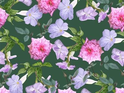 Purple Trumpet and  Rose Seamless Pattern