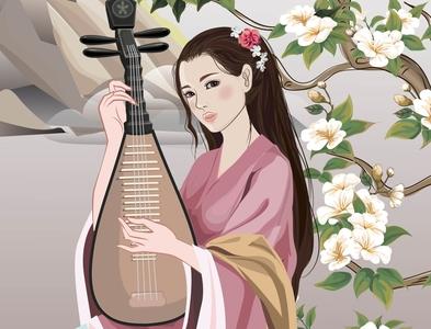 Beautiful Chinese girl playing the harp