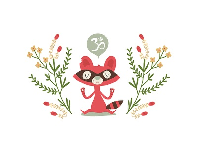 Om Raccoon pink raccoon meditation