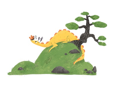 Little Landscape #1 butterfly landscape illustration dragon