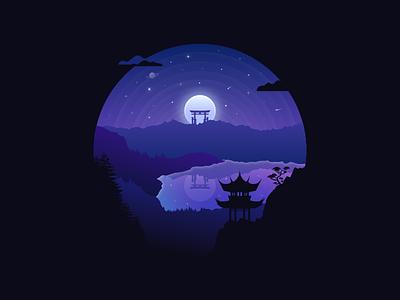 Japan landscape badge #5 lake vector temple stars moon landscape japan imagination illustration design torii badge