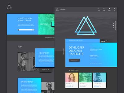 Shipyard Site brand design dark minimalist meetup site material design web design website