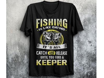 Creative Fishing  T-shirt Design.